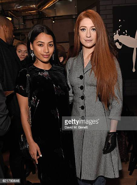 Vanessa White and Nicola Roberts attend the opening of London City Island the capital's new cultural neighbourhood on November 8 2016 in London...