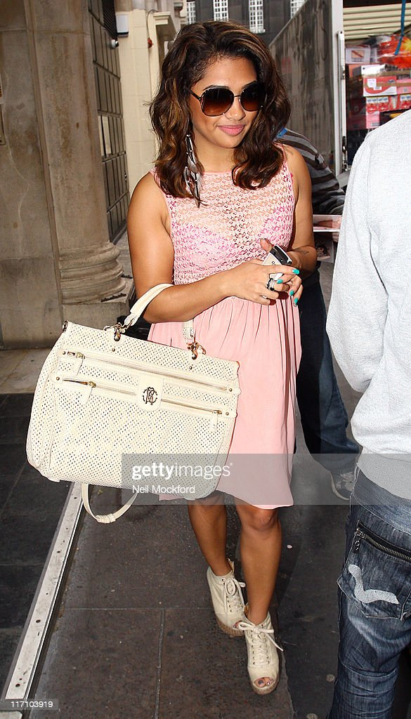 Vanessa White from 'The Saturdays' sighted leaving KISS FM on June 22, 2011 in London, England.