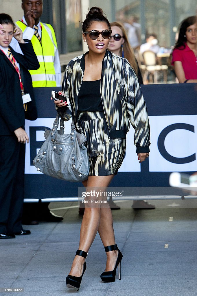 <a gi-track='captionPersonalityLinkClicked' href=/galleries/search?phrase=Vanessa+White&family=editorial&specificpeople=5523036 ng-click='$event.stopPropagation()'>Vanessa White</a> of The Saturdays sighted at BBC Radio 1 on August 19, 2013 in London, England.