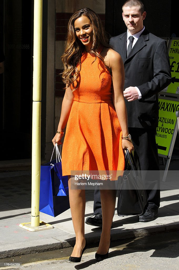 Vanessa White of 'The Saturdays' sighted on Oxford Street on August 13, 2013 in London, England.