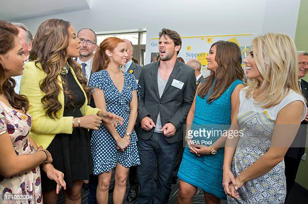 Vanessa White Rochelle Wiseman Una Healy and her husband Ben Foden Frankie Sandford and Mollie King during a visit to a Marie Curie Cancer Care...