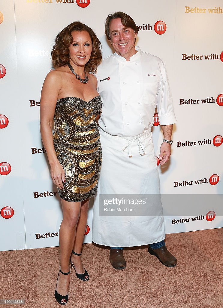 Vanessa Williams and Chef and restaurateur John Besh attends the M&M's Better With M Party at The Foundry on January 31, 2013 in New Orleans, Louisiana.