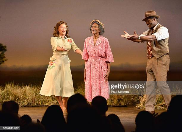 Vanessa Williams Cicely Tyson and Blair Underwood take a bow at the opening night performance of 'The Trip to Bountiful' as part of the ArtsEmerson...