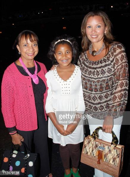 Vanessa Williams her mother Helen Williams and daughter Sasha Fox pose backstage at 'Billy Elliot' Broadway at The Imperial Theater on July 11 2009...