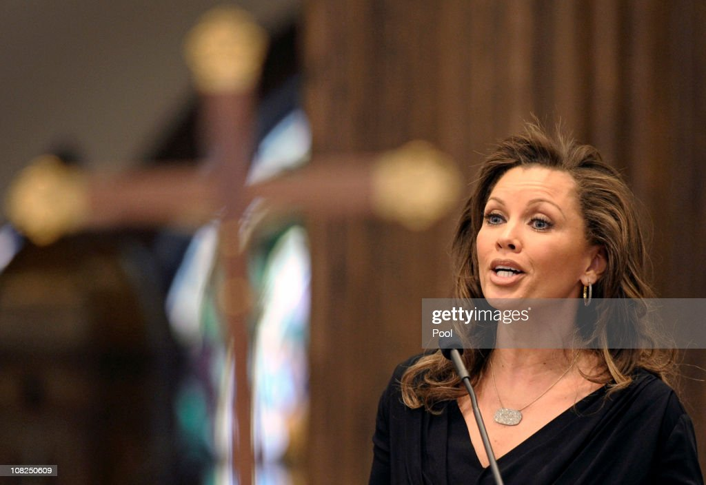 Vanessa Williams sings a song during the funeral mass for Sargent Shriver at Our Lady of Mercy Catholic Church January 22, 2011 in Potomac, Maryland. Robert Sargent Shriver Jr., a politician and activist who was the first leader of the Peace Corps and was involved in other social programs, died this week at the age of 95.