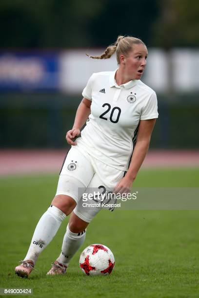 Vanessa Ziegler of Germany runs with the ball during the UEFA Under19 Women's Euro Qualifier match between Germany and Iceland at Stadium Wedau III...