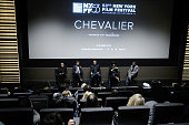 Vangelis Mourikis Yorgos Pirpassopoulos Panos Koronis and Filmmaker Athina Rachel Tsangari attend 'Chevalier' QA during 53rd New York Film Festival...