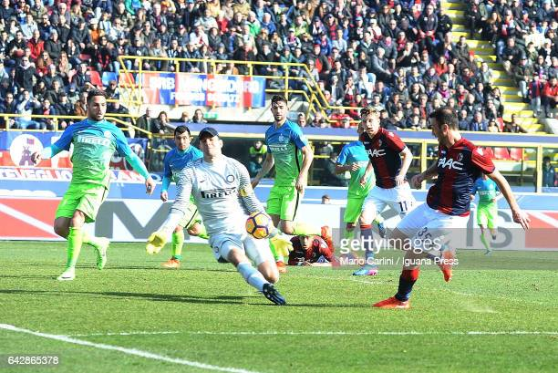 Vangelis Torosidis of Bologna FC kicks towards the goal during the Serie A match between Bologna FC and FC Internazionale at Stadio Renato Dall'Ara...