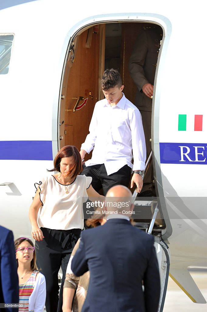 Vania Arditi and Michele Girone wife and son of Italian Marine Salvatore Girone arrives at Ciampino Airport on May 28 2016 in Rome, Italy. Salvatore Girone, accused of killing two fishermen in India returned back to Italy after four years, pending a ruling on where he should be tried.
