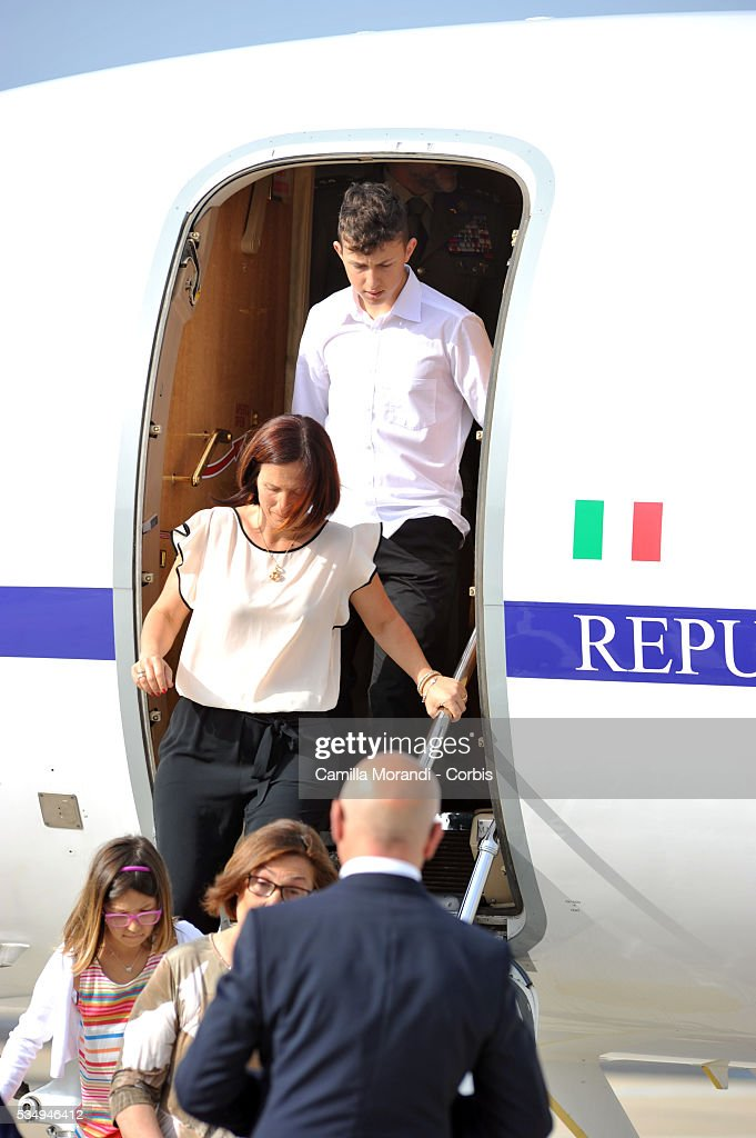 Vania Arditi wife of Italian Marine Salvatore Girone arrives at Ciampino Airport on May 28 2016 in Rome, Italy. Salvatore Girone, accused of killing two fishermen in India returned back to Italy after four years, pending a ruling on where he should be tried.