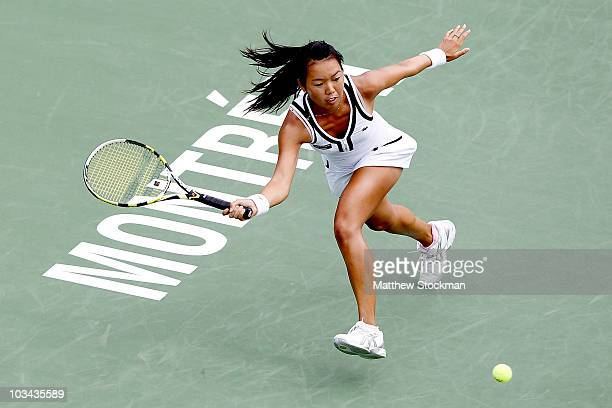 Vania King of the United States returns a shot to Agnieszka Radwanska of Poland during the Rogers Cup at Stade Uniprix on August 18 2010 in Montreal...