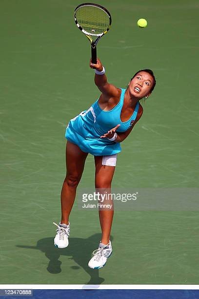Vania King of the United States serves against Caroline Wozniacki of Denmark during Day Six of the 2011 US Open at the USTA Billie Jean King National...