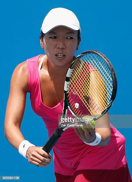 Vania King of the United States serves in her first round match against Mona Barthel of Germany during day two of the 2016 Australian Open at...