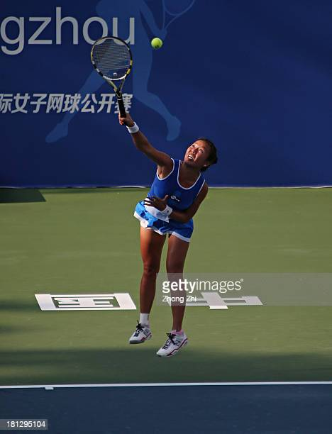 Vania King of the USA serves during in her singles match against Jie Zheng of China on Day Five of the WTA Guangzhou Open on September 20 2013 in...