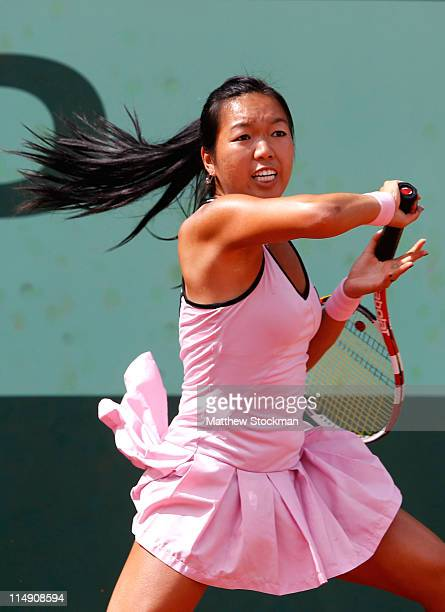 Vania King of USA hits a forehand during the women's singles round three match between Vania King of USA and Petra Kvitova of Czech Republic on day...