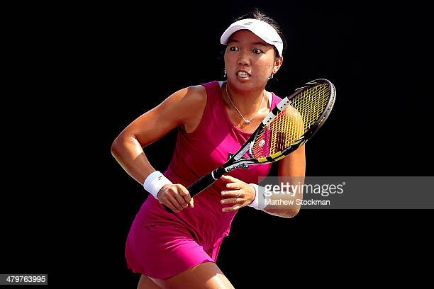Vania King plays Lucie Safarova of Czech Republic during the Sony Open at the Crandon Park Tennis Center on March 20 2014 in Key Biscayne Florida