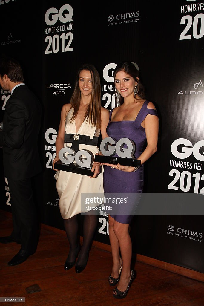 Vania Masias and Anahi Gonzales Daly pose during the awards ceremony GQ Men of the Year 2012 at La Huaca Pucllana on November 23, 2012 in Lima, Peru.