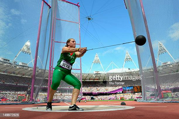 Vania Silva of Portugal competes in the Women's Hammer Throw Qualifications on Day 12 of the London 2012 Olympic Games at Olympic Stadium on August 8...