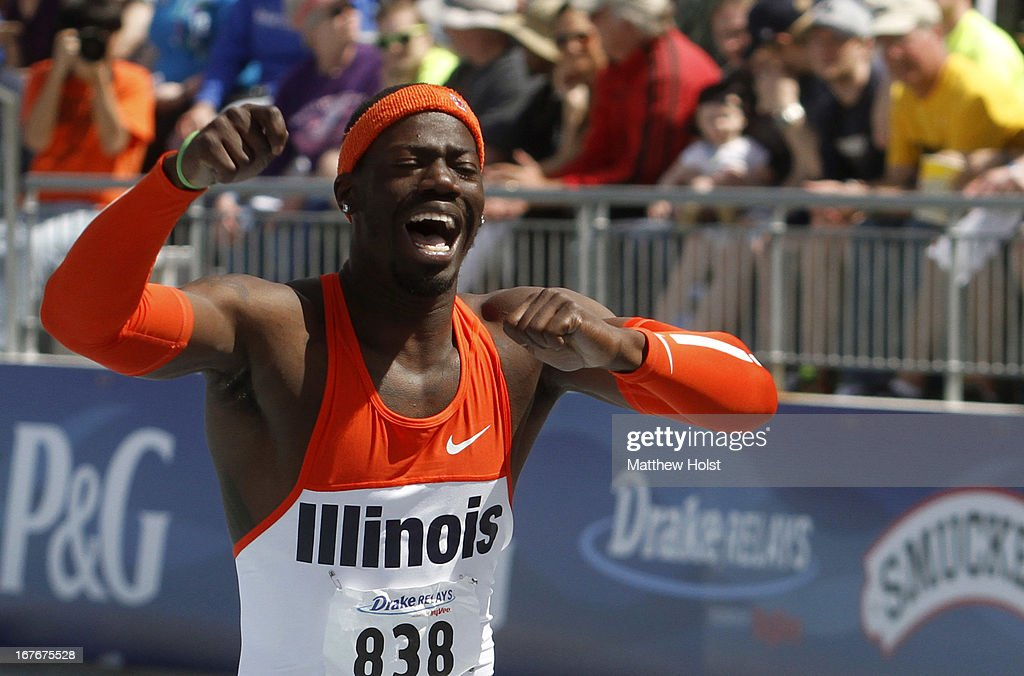 Vanier Joseph, of the Illinois Illini celebrates after winning the Men's 110-meter Hurdles at the Drake Relays, on April 27, 2013 at Drake Stadium, in Des Moines, Iowa.