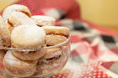 "Vanilice, traditional Serbian small sandwich cookies in glass bowl. ""Vanilice"" means vanilla cookies."