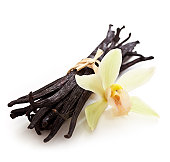 Vanilla beans with yellow flower on white background