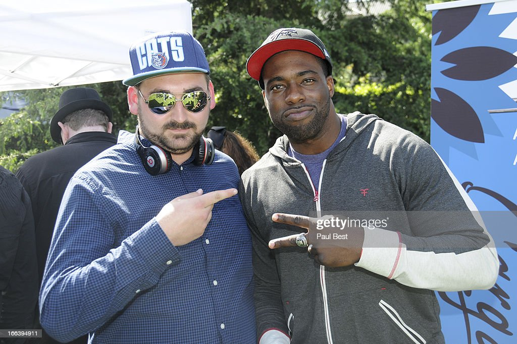 DJ Vanilla Chilla and Brian Banks attend 3rd Annual Rockn Rolla Movie Awards Eco Party on April 11, 2013 in Los Angeles, California.