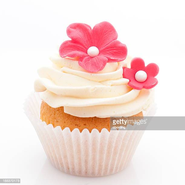Vanilla cupcake with red sugar flowers