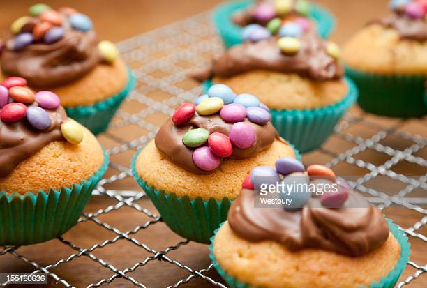 Vanilla cupcakes with blue lining