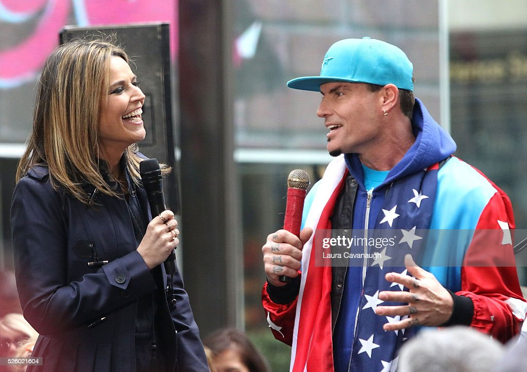 <a gi-track='captionPersonalityLinkClicked' href=/galleries/search?phrase=Vanilla+Ice&family=editorial&specificpeople=228351 ng-click='$event.stopPropagation()'>Vanilla Ice</a> and <a gi-track='captionPersonalityLinkClicked' href=/galleries/search?phrase=Savannah+Guthrie&family=editorial&specificpeople=653313 ng-click='$event.stopPropagation()'>Savannah Guthrie</a> on NBC's 'Today' at Rockefeller Plaza on April 29, 2016 in New York City.