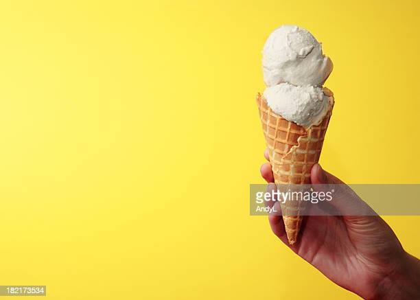 Vanilla Ice Cream Cone on Yellow with Space for Copy