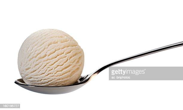 Vanilla ice cream on spoon