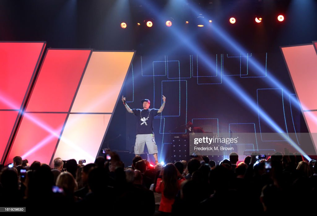 <a gi-track='captionPersonalityLinkClicked' href=/galleries/search?phrase=Vanilla+Ice&family=editorial&specificpeople=228351 ng-click='$event.stopPropagation()'>Vanilla Ice</a> performs onstage at the 3rd Annual Streamy Awards at Hollywood Palladium on February 17, 2013 in Hollywood, California.