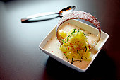 Vanilla panne cotta with marinated pineapple and basil