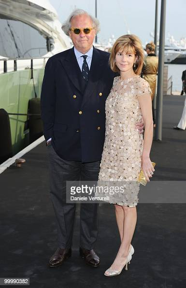 Vanity Fair editor Graydon Carter and Anna Carter attend the Fair Game Cocktail Party hosted by Giorgio Armani held aboard his boat 'Main' during the...