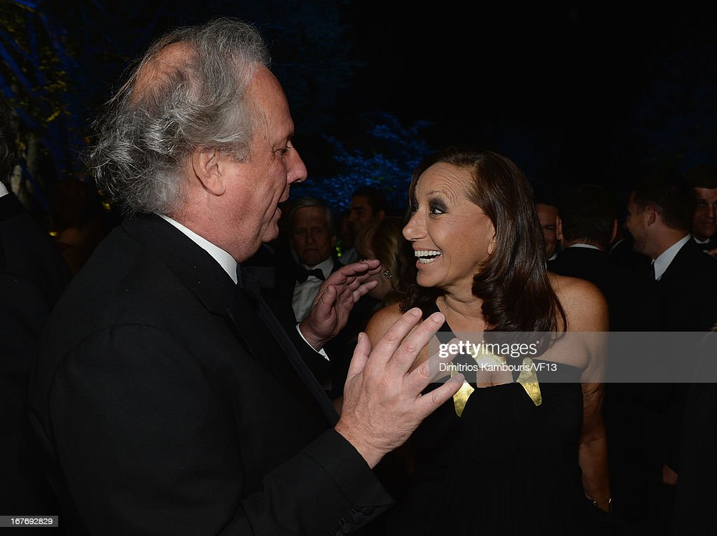 Vanity Fair Editor Graydon Carter and Donna Karan attend the Bloomberg & Vanity Fair cocktail reception following the 2013 WHCA Dinner at the residence of the French Ambassador on April 27, 2013 in Washington, DC.