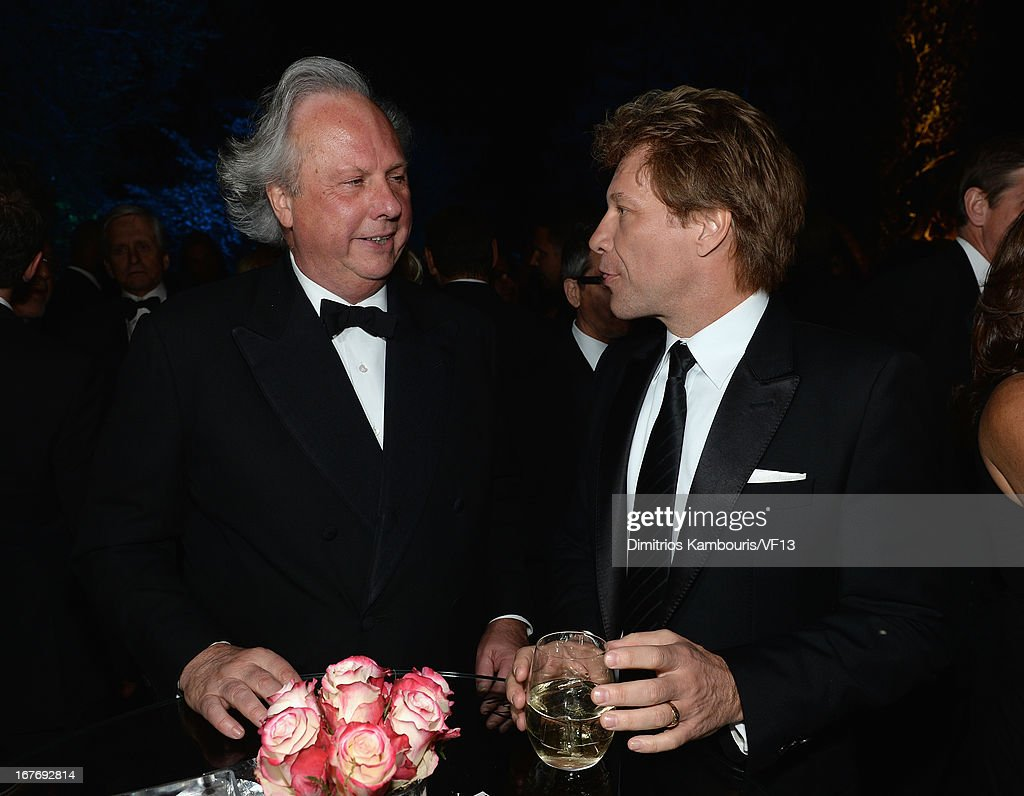 Vanity Fair Editor Graydon Carter and Jon Bon Jovi attend the Bloomberg & Vanity Fair cocktail reception following the 2013 WHCA Dinner at the residence of the French Ambassador on April 27, 2013 in Washington, DC.