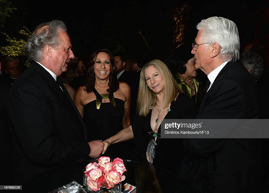 Vanity Fair Editor Graydon Carter, designer Donna Karan, <a gi-track='captionPersonalityLinkClicked' href=/galleries/search?phrase=Barbra+Streisand&family=editorial&specificpeople=200745 ng-click='$event.stopPropagation()'>Barbra Streisand</a> and <a gi-track='captionPersonalityLinkClicked' href=/galleries/search?phrase=James+Brolin&family=editorial&specificpeople=213029 ng-click='$event.stopPropagation()'>James Brolin</a> attend the Bloomberg & Vanity Fair cocktail reception following the 2013 WHCA Dinner at the residence of the French Ambassador on April 27, 2013 in Washington, DC.