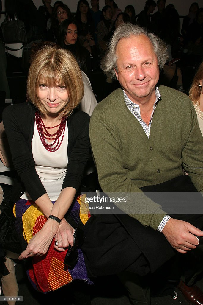 Vanity Fair EditorinChief Graydon Carter and Editor in Chief of Vogue Anna Wintour attend the Diane Von Furstenburg Fall 2005 show during Olympus...