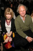 Vanity Fair EditorinChief Graydon Carter and Editor in Chief of Vogue Anna Wintour attend the Diane Von Furstenburg Fall 2005 show during Olympus...
