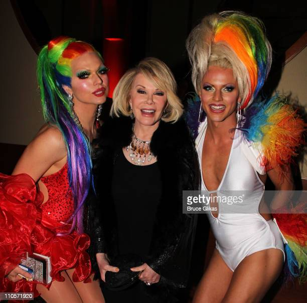 Vanity Fair Joan Rivers and Courtney Act pose at The Opening Night After Party for 'Priscilla Queen of the Desert The Musical' on Broadway at Pier 60...