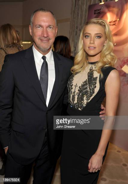 Vanity Fair publisher Edward Menicheschi and actress Amber Heard attend the Montblanc Vanity Fair Party celebrating the Collection Princesse Grace de...