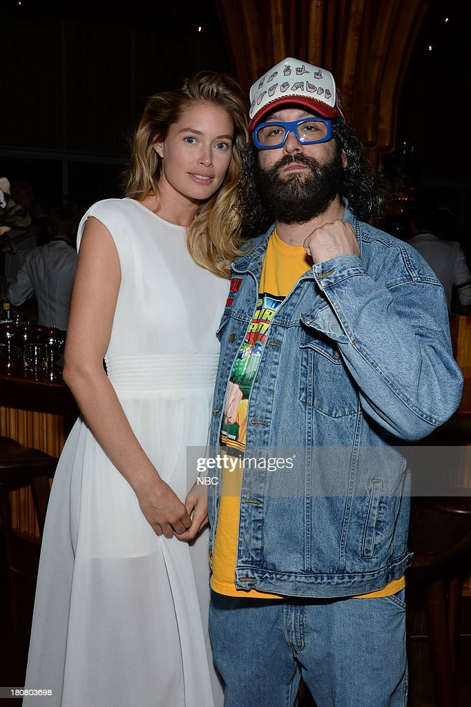 EVENTS -- 'NBC & Vanity Fair Toast the 2013 Launch' -- Pictured: (l-r) Doutzen Kroes, Model, Judah Friedlander '30 Rock' during the NBC & Vanity Fair Toast the 2013 Launch party at Top of The Standard in New York City on Monday, September 16, 2013 --