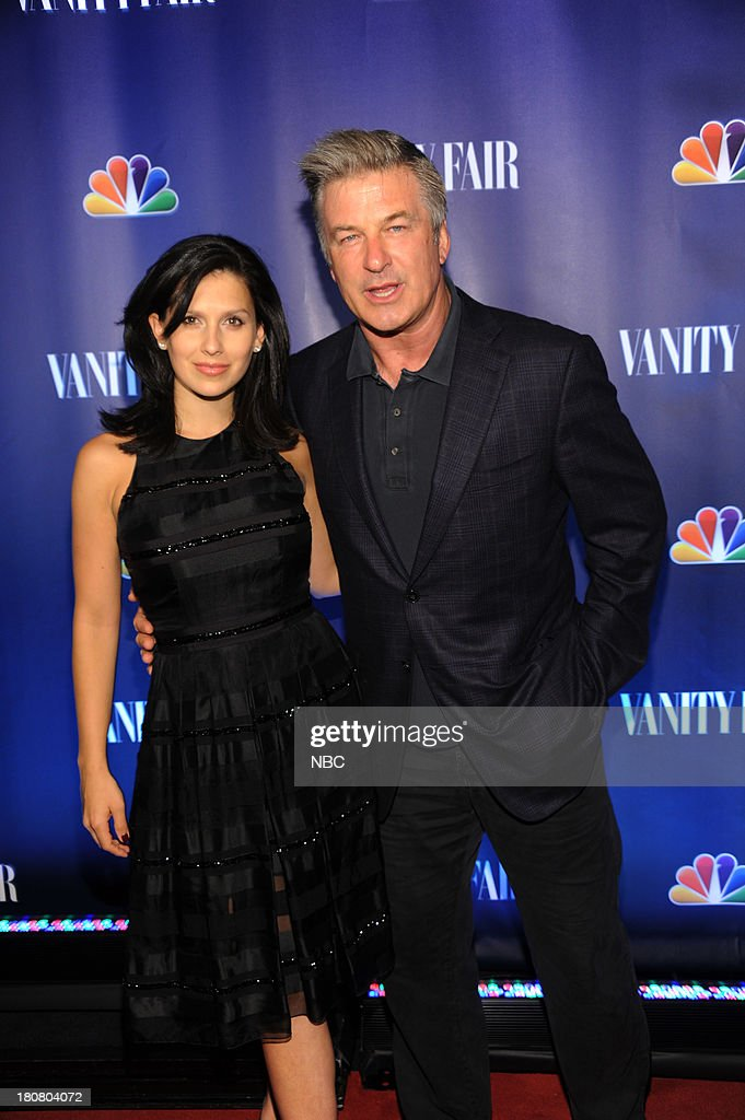 EVENTS -- 'NBC & Vanity Fair Toast the 2013 Launch' -- Pictured: (l-r) <a gi-track='captionPersonalityLinkClicked' href=/galleries/search?phrase=Hilaria+Thomas&family=editorial&specificpeople=7856471 ng-click='$event.stopPropagation()'>Hilaria Thomas</a> Baldwin, <a gi-track='captionPersonalityLinkClicked' href=/galleries/search?phrase=Alec+Baldwin&family=editorial&specificpeople=202864 ng-click='$event.stopPropagation()'>Alec Baldwin</a> '30 Rock' arrives at the NBC & Vanity Fair Toast the 2013 Launch partyat Top of The Standard in New York City on Monday, September 16, 2013 --