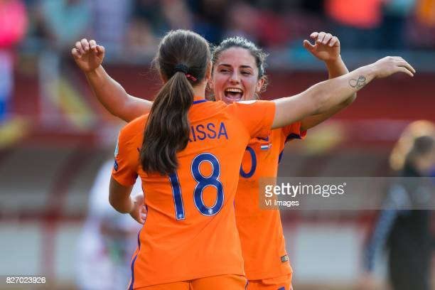Vanity Lewerissa of Holland Women Danielle van de Donk of Holland Women during the UEFA WEURO 2017 final match between The Netherlands and Denmark at...