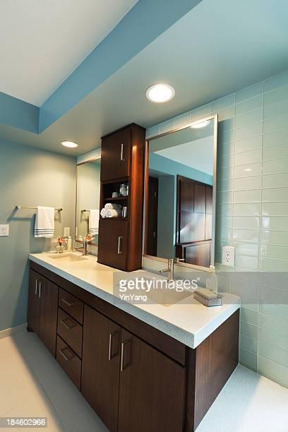 Vanity Sink and Mirror, Modern Residential Home Bathroom Interior Design