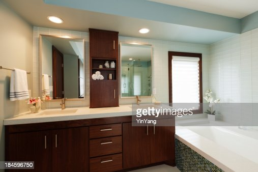 Modern Home Bathroom modern bathroom with glass shower stock photo | getty images
