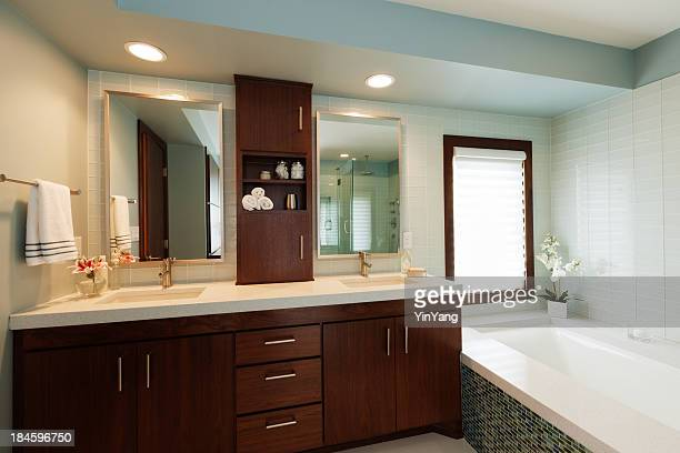 Vanity Sink, Mirror, Bathtub of Modern Home Bathroom Design