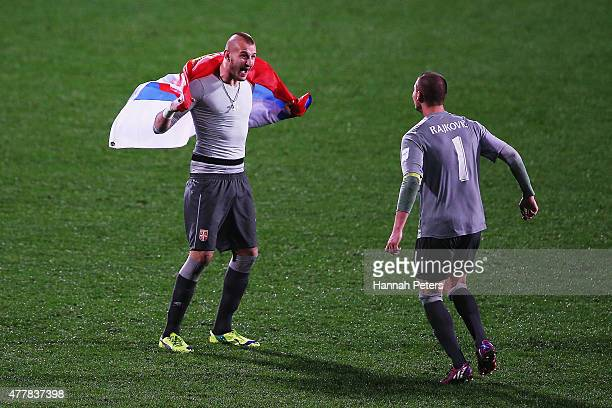 Vanja Milinkovic and Predrag Rajkovic of Serbia celebrates after winning the FIFA U20 World Cup Final match between Brazil and Serbia at North...