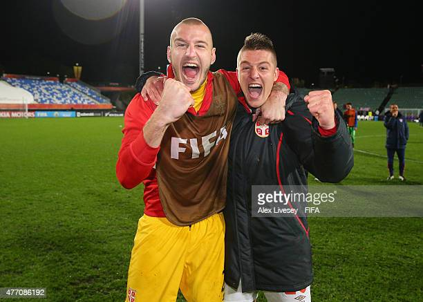 Vanja Milinkovic and Sergej Milinkovic of Serbia celebrate after the FIFA U20 World Cup Quarter Final match between USA and Serbia at the North...