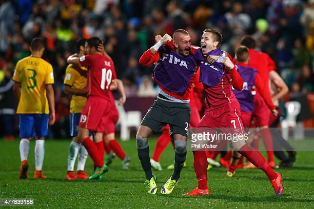 Vanja Milinkovic of Serbia and Ivan Saponjic celebrate following the FIFA U20 World Cup Final match between Brazil and Serbia at North Harbour...